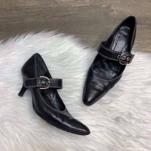 Coach Julianne Black Leather Mary Jane Point Toe